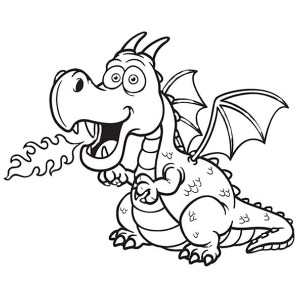 Coloriage Dragon rose cracheur de feu en Ligne Gratuit à imprimer