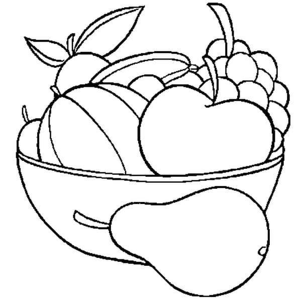 Dessin Panier de Fruits a colorier