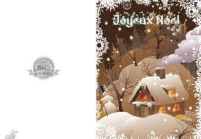 Carte de Noël maison sous la neige