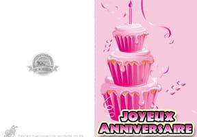 Carte anniversaire Gâteau rose
