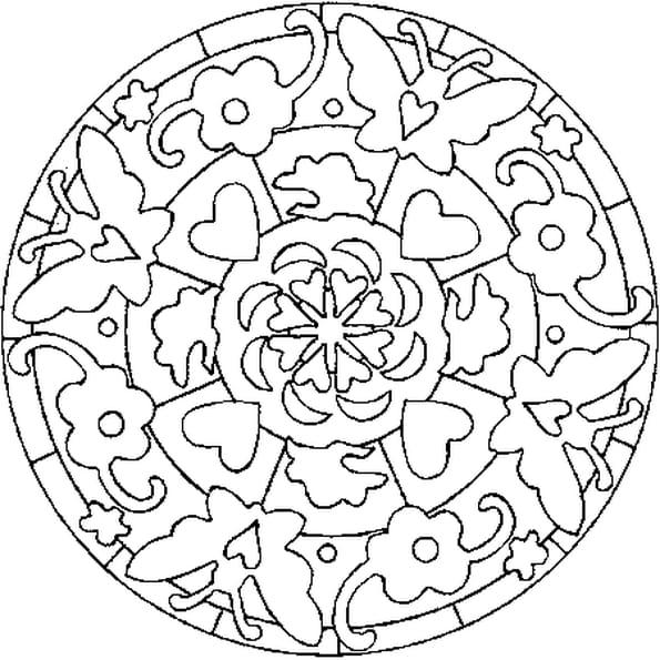 Mandala a colorier de st valentin - St valentin dessin ...