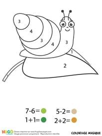 Coloriage magique CP: un escargot sur une feuille