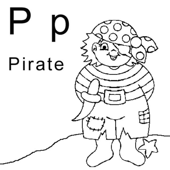 Dessin lettre P comme pirate a colorier