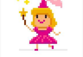 Princesse rose en pixel art