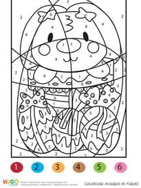 Coloriage magique panier et lapin de Pâques