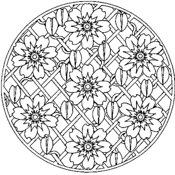 coloriage mandala de fleur en ligne gratuit imprimer. Black Bedroom Furniture Sets. Home Design Ideas