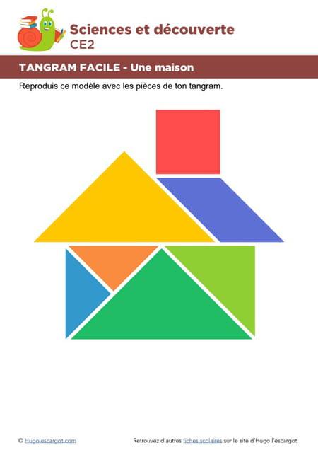 le tangram niveau facile une maison. Black Bedroom Furniture Sets. Home Design Ideas
