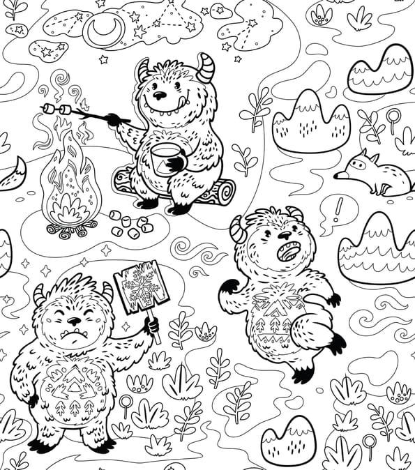Coloriage du Yéti: l'abominable homme des neiges