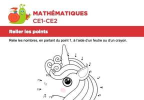 Mathématiques, relier les points, une licorne