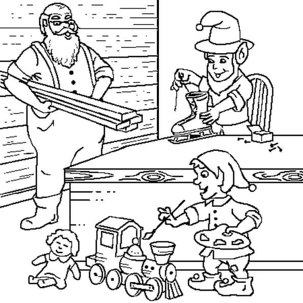 Dessin Père Noël et Lutins a colorier