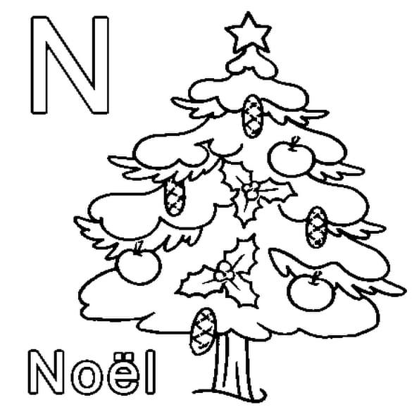 Dessin N comme Noël a colorier