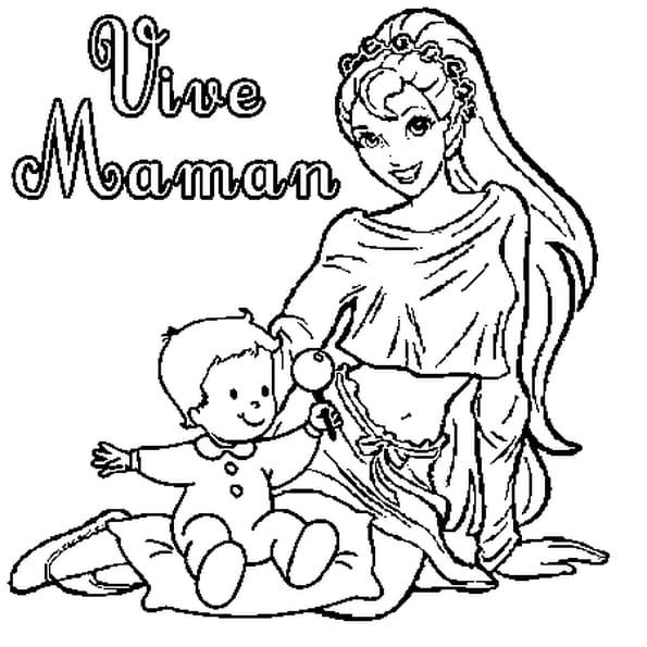Coloriage Vive maman en Ligne Gratuit à imprimer