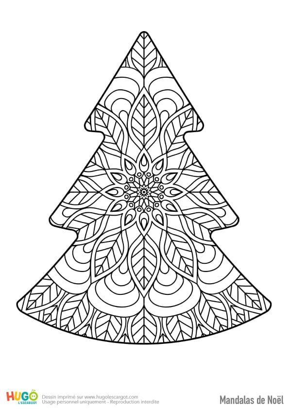 Mandala joli sapin de Noël