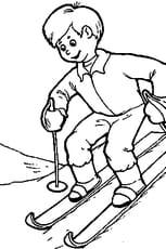 Coloriage Le ski en Ligne Gratuit à imprimer