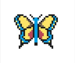Papillon facile en pixel art
