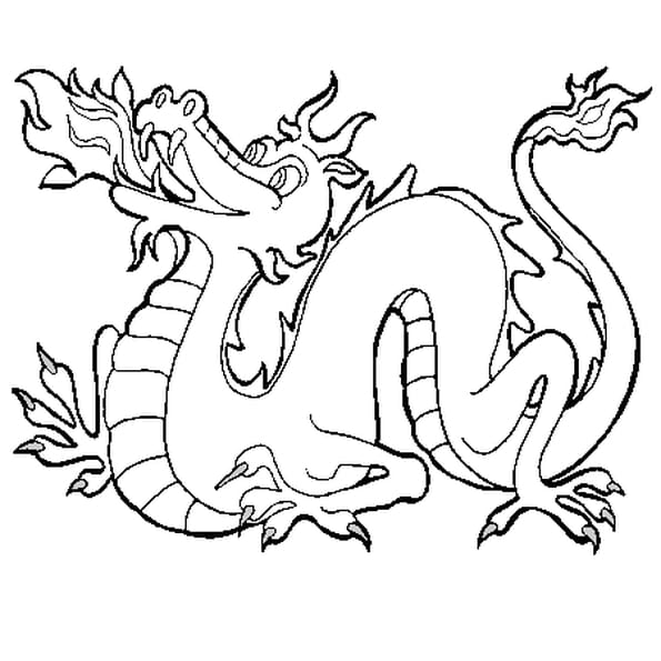 Coloriage Dragon de Feu en Ligne Gratuit à imprimer