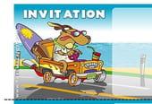 Carte invitation anniversaire chien voiture