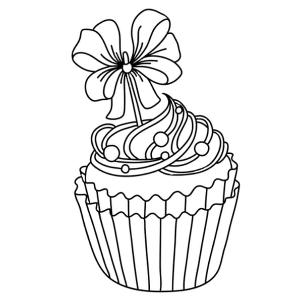 Dessin Cupcake festif a colorier