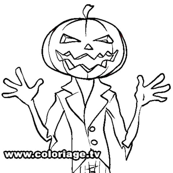 Coloriage citrouille d 39 halloween humaine en ligne gratuit imprimer - Coloriages d halloween ...