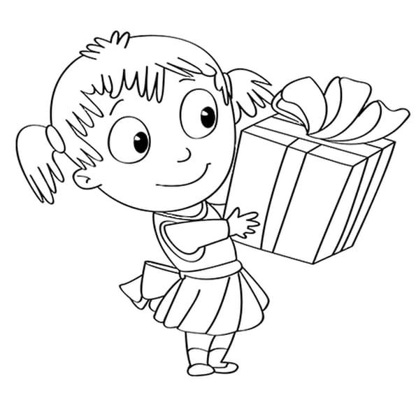 Dessin Activités de Noël, ouvrir le cadeau a colorier