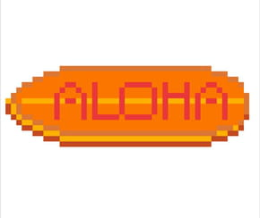 Planche de surf Aloha en pixel art