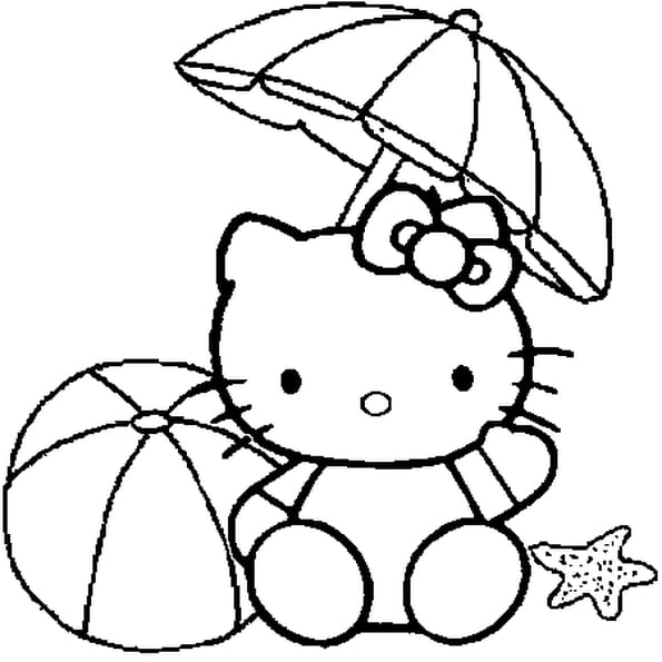 Coloriage hello kitty la plage en ligne gratuit imprimer - Coloriage de hello kitty sur hugo l escargot ...