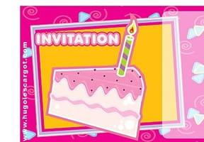 Carte invitation anniversaire part de gâteau