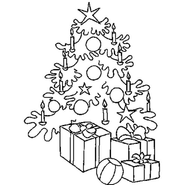 Coloriage Sapin et cadeaux en Ligne Gratuit à imprimer