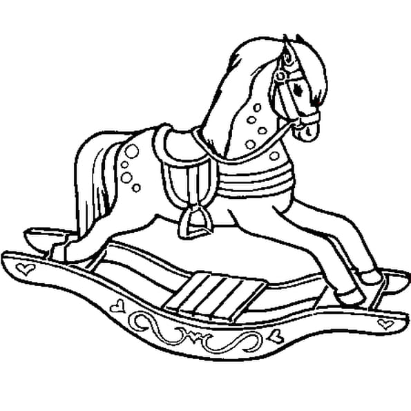 Dessin cheval a bascule a colorier
