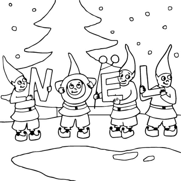 Coloriage Les Lutins de Noël en Ligne Gratuit à imprimer