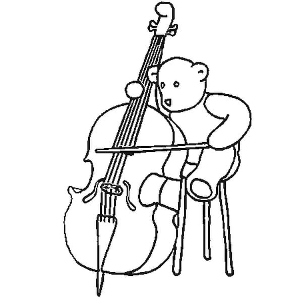 Dessin violoncelle a colorier