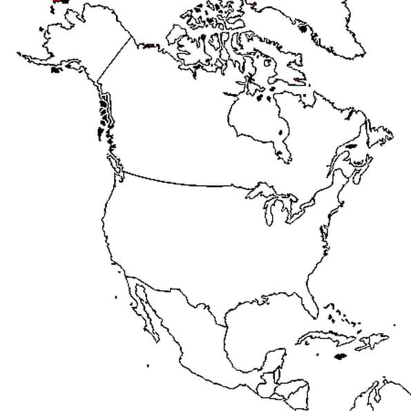 Coloriage carte Amérique du nord en Ligne Gratuit à imprimer