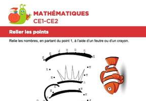 Mathématiques, relier les points, le poisson-clown