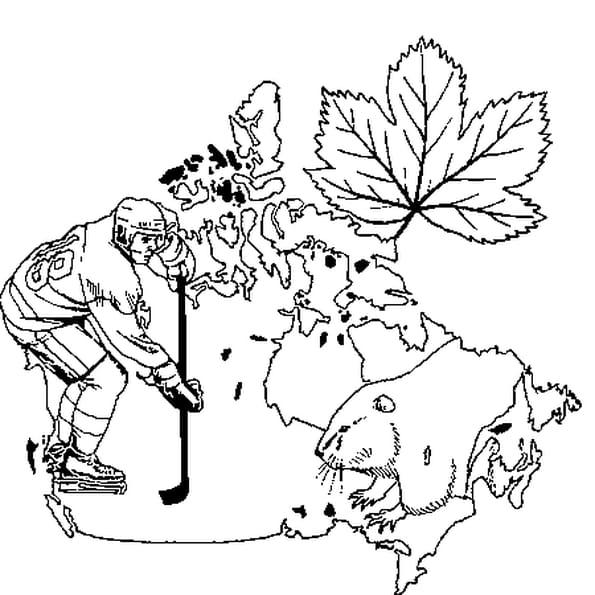 Dessin Canada a colorier