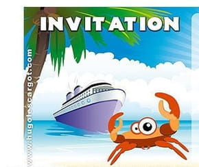 Carte invitation anniversaire plage