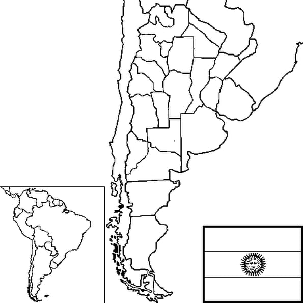 Dessin carte Argentine a colorier
