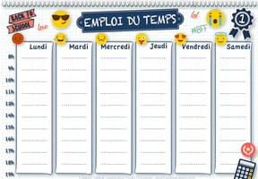 Emploi du temps smiley