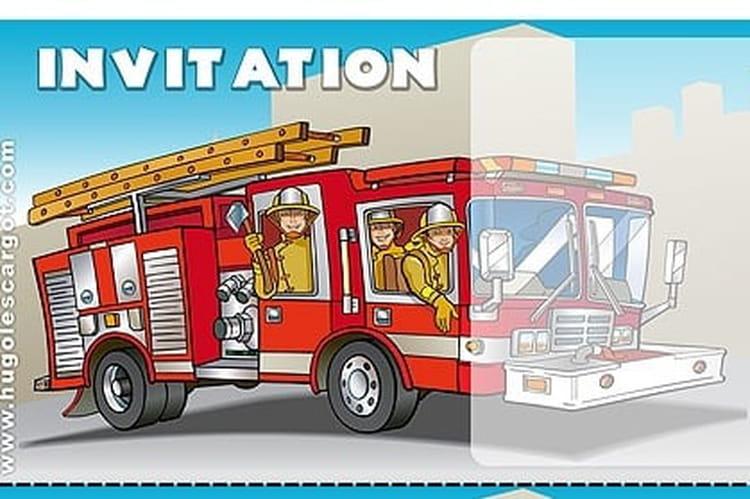 Bien-aimé Carte invitation anniversaire camion de pompiers DW81