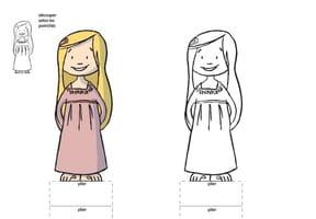 Paper doll fille aux cheveux longs