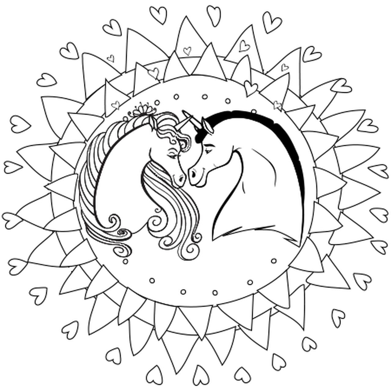 Coloriage Mandala Licorne En Ligne Gratuit à Imprimer