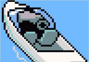 Hors-bord en pixel art