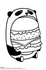 Coloriage Le burger du panda en mode kawaii