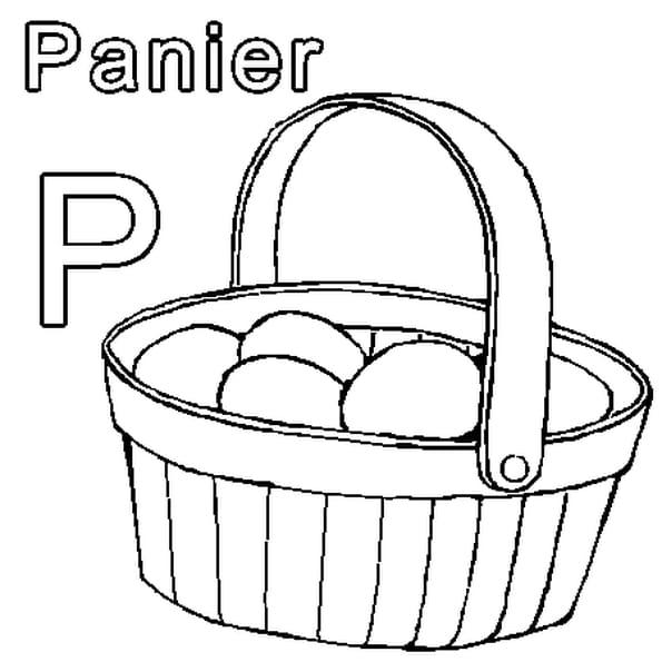 Dessin P comme Panier a colorier