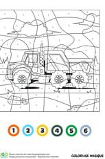Coloriage magique CE1: un camion-benne