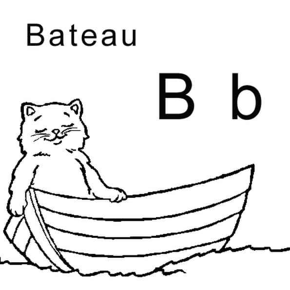 Coloriage lettre B comme bateau en Ligne Gratuit à imprimer