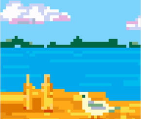 Mouette sur une plage en pixel art