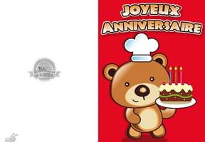 Carte joyeux anniversaire ourson 3ans