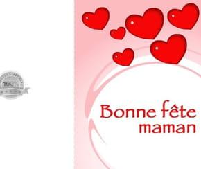 Carte fête des mères cœurs rouges