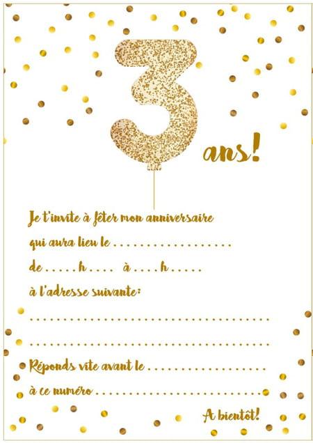 Carte D Invitation D Anniversaire 3 Ans
