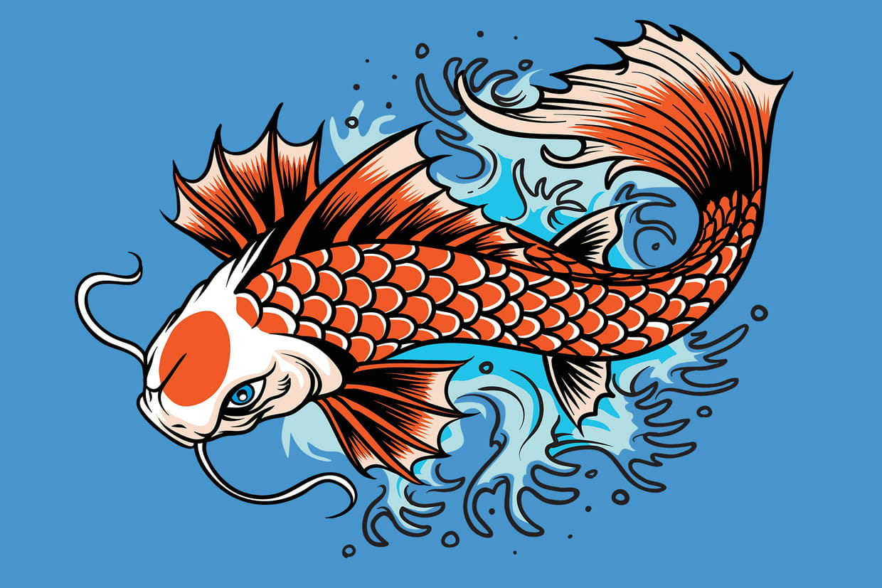 Coloriage carpes koi sur for Carpe koi b